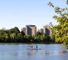 Des adeptes de la planche de surf à pagaie, face Parc Maurice-Richard sur l\'avenue Stanley Park
